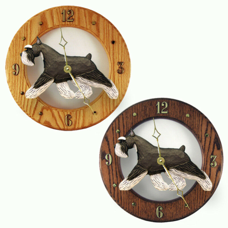 Schnauzer Wood Wall Clock Plaque Blk Silv Ebay