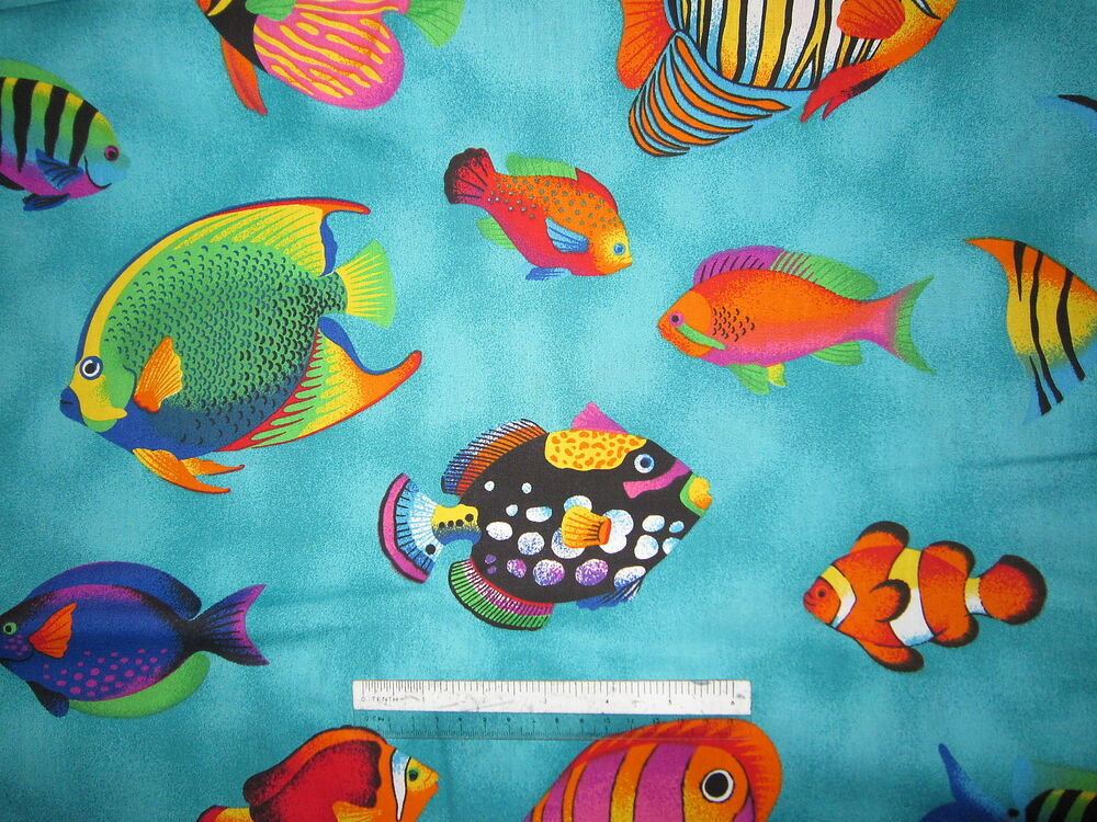 Fish dolphin whales sharks sea cotton quilting fabric for Fish fabric for quilting