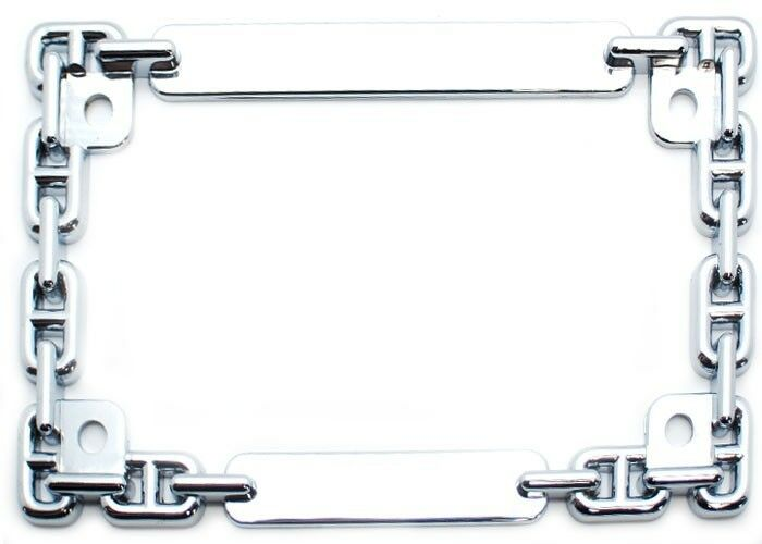 Chrome Quot Chain Quot License Plate Frame For Most Motorcycle Tag