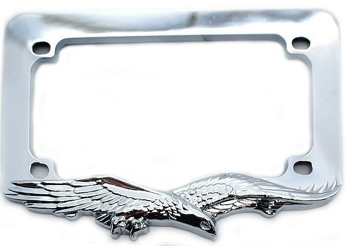 Chrome Quot Eagle Quot License Plate Frame For Most Motorcycle Tag