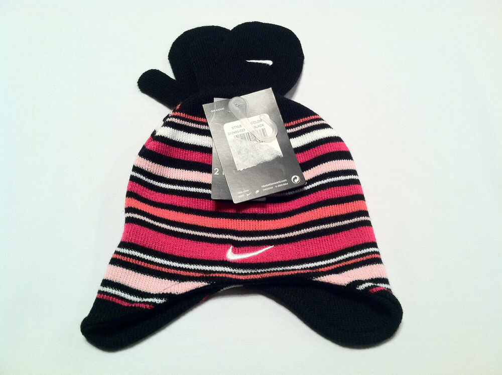 promo code c1f0b e6b42 Details about New girls NIKE winter ear flaps trapper hat mittens set black  pink white 2T-4T