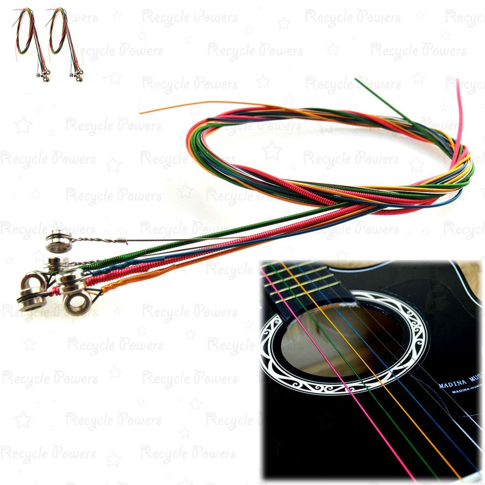 2 set of 6 rainbow multi color acoustic guitar strings stainless steel alloy ebay. Black Bedroom Furniture Sets. Home Design Ideas