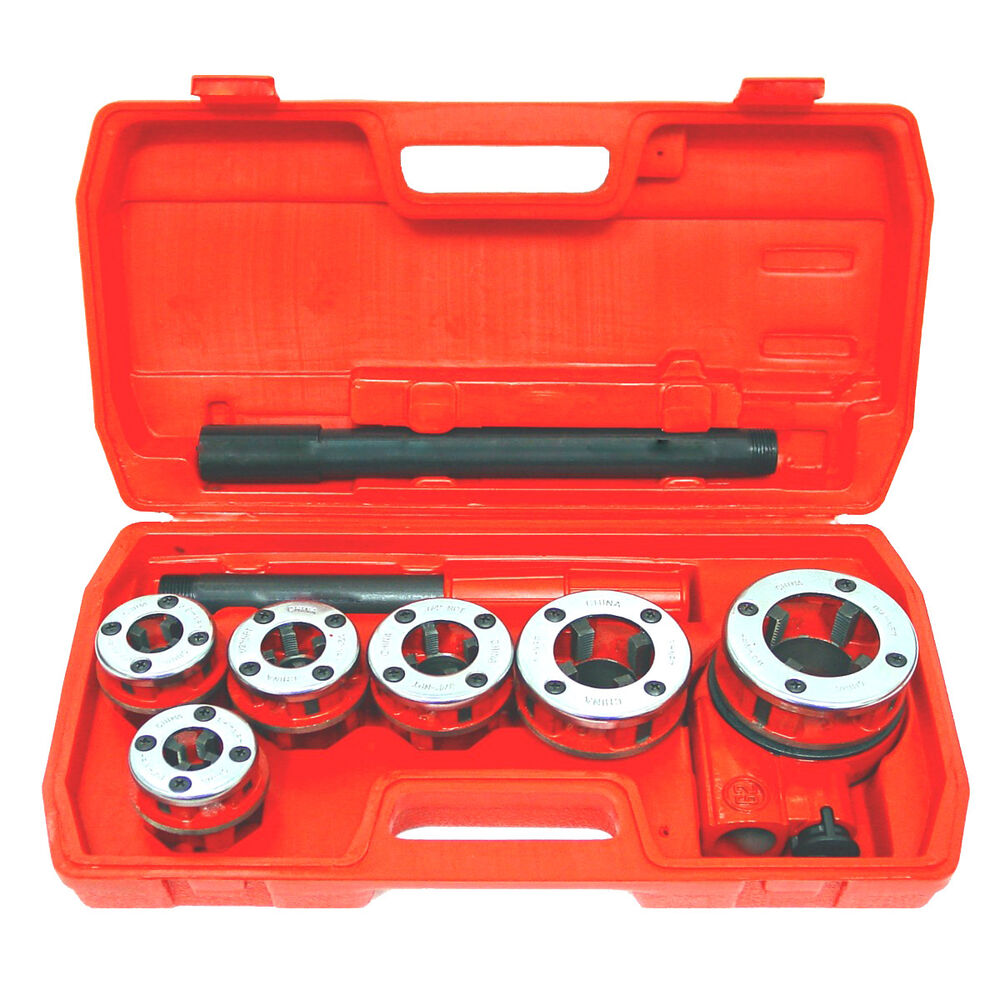 New ratchet pipe threader kit set ratcheting w dies and