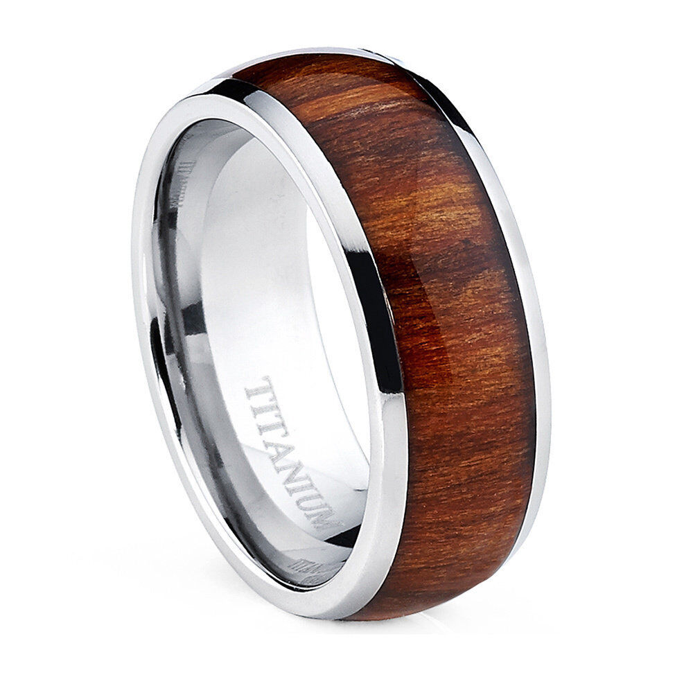 Oliveti Men S Dome Titanium Ring With Real Santos Rosewood