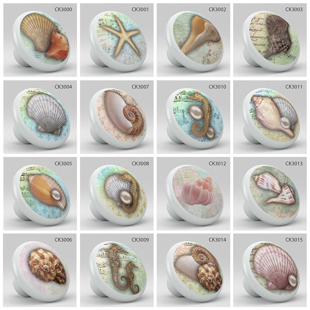 ... Nautical Cabinet Hardware Pulls By Nautical Coastal Style Ocean Sea  Shells Pearl Ceramic Knob ...
