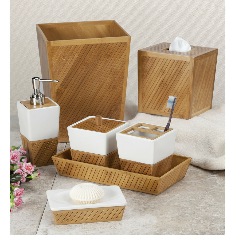 Spa bamboo bath accessory collection ebay for Bathroom accessories collection