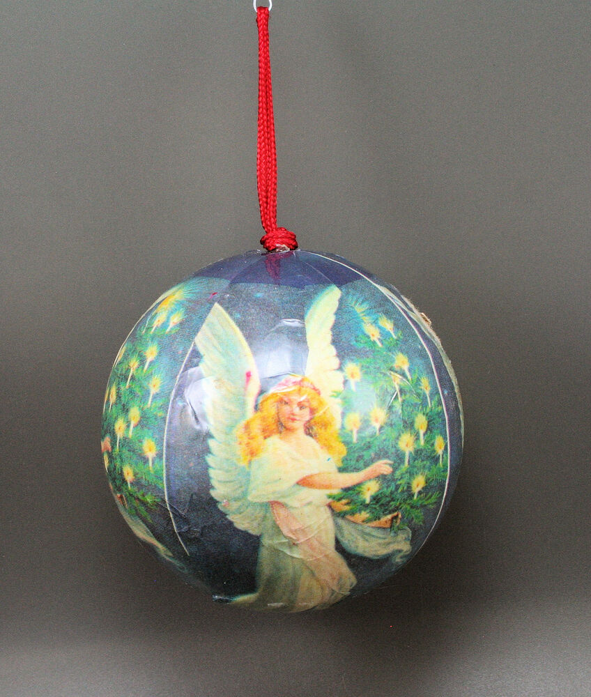 christmas tree ornaments candle lit tree decoupage large hanging 10876