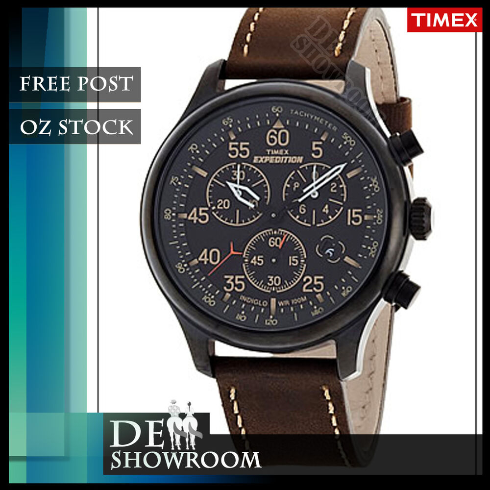 timex s expedition leather chronograph t49905