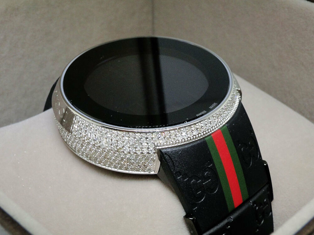 Brand New Mens I Gucci Digital White Diamond Watch 4 Ct ...