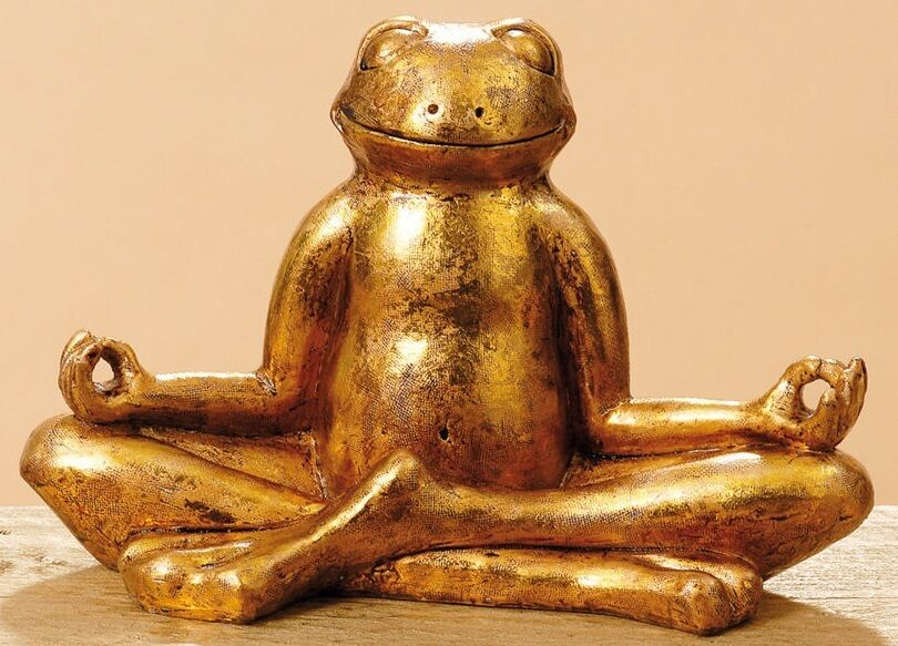 meditation frosch gold figur yoga deko 28 cm skulptur wellness feng shui neu ebay. Black Bedroom Furniture Sets. Home Design Ideas