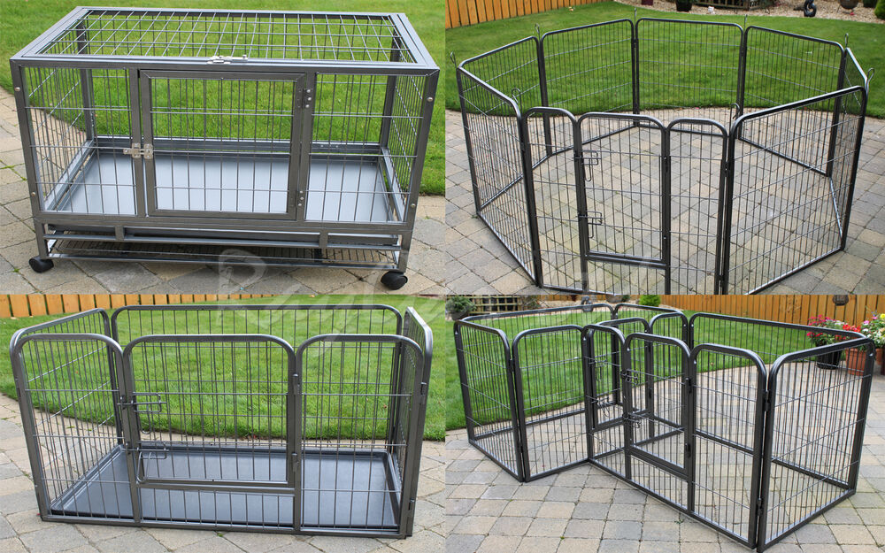 Heavy duty dog pen puppy pet play cage run whelping strong for Dog run cage enclosure