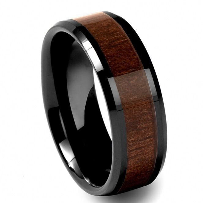 black tungsten carbide mens walnut wood inlay 8mm beveled wedding band ring m68 ebay. Black Bedroom Furniture Sets. Home Design Ideas