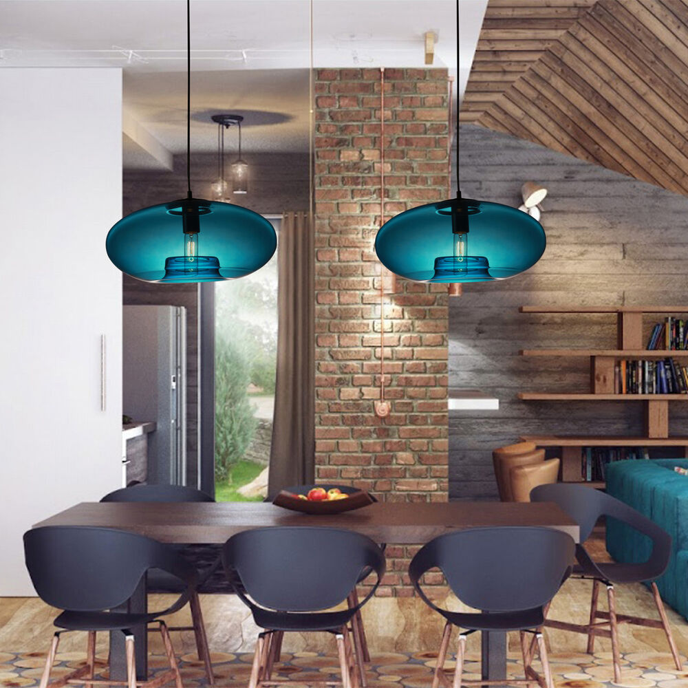 Modern Glass Pendant Light In Blue Bubble Design Dining