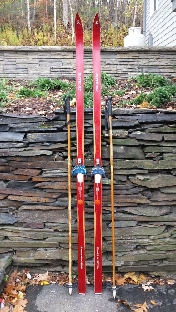 Vintage hickory wooden quot skis has red finish elite