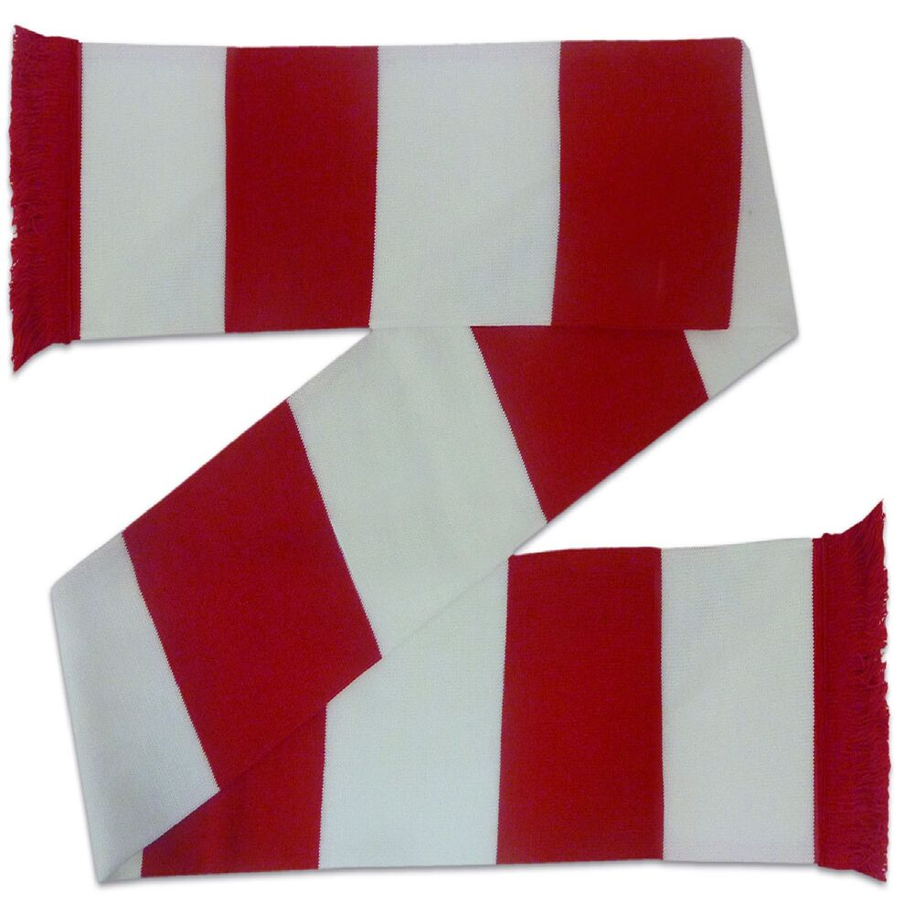 Knitting Pattern For Arsenal Scarf : Arsenal Colours Football Gift Retro Bar Scarf Red White eBay
