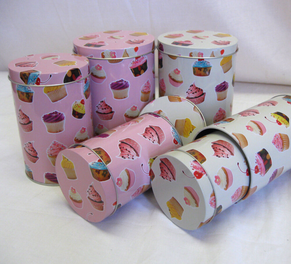 Set Of 3 Small Cupcake Design Canisters Tins Kitchen Food Storage Decorative Ebay