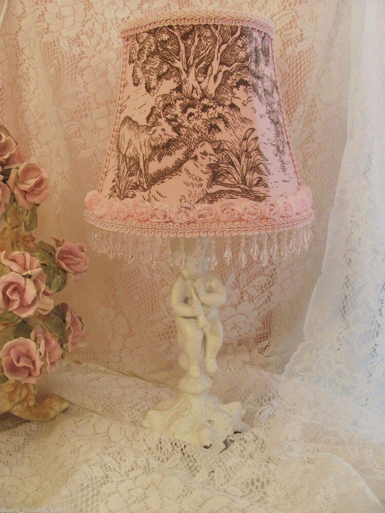 Shabby pink toile lampshade chic rose trim girl nursery for Toile shabby chic