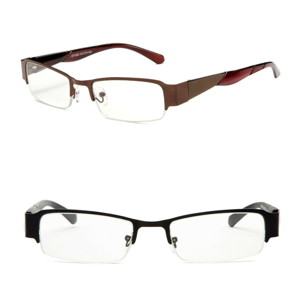 Unisex Metal Half Frame Reading Glasses Spring Hinges ...