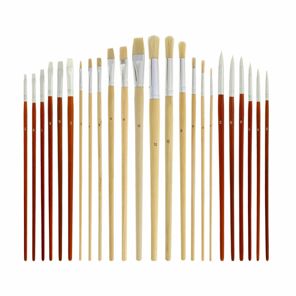 Us art supply 24pc oil acrylic paint long handle brush for Canvas painting supplies