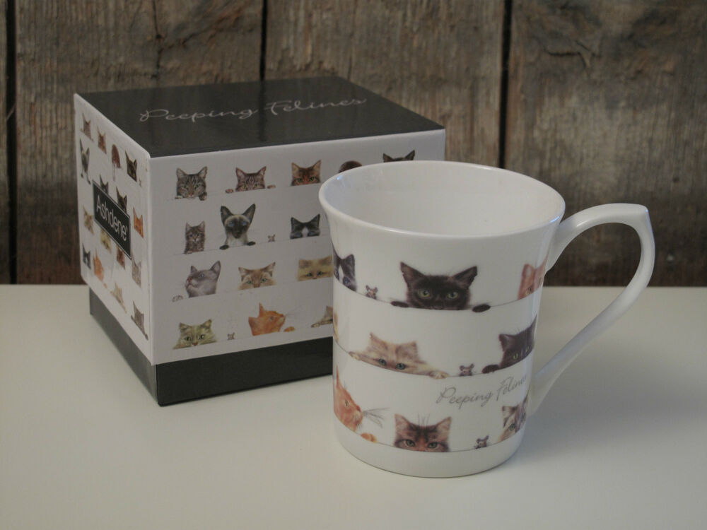 ashdene becher tasse peeping felines katzen fine bone china porzellan ebay. Black Bedroom Furniture Sets. Home Design Ideas