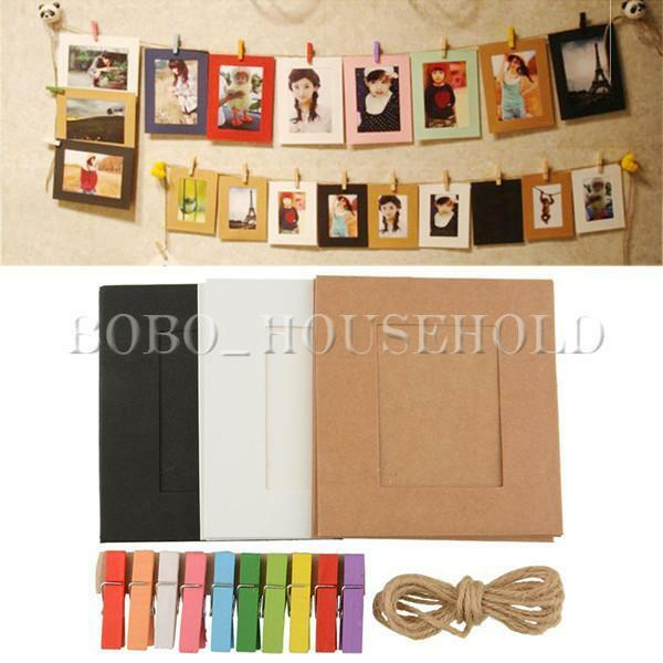 10 20 30 paper photo frame diy wall art hanging album for Picture frame with clips diy