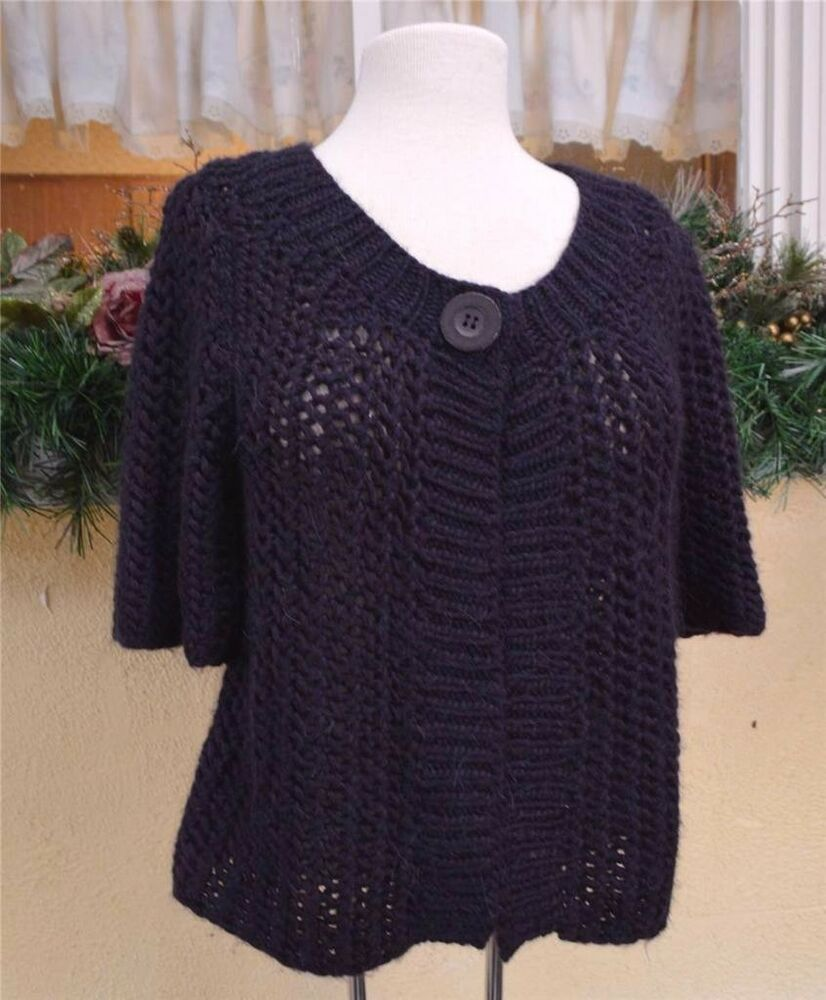 Ruff Hewn 1 Button Pointelle Sweater L Plum Classic Party