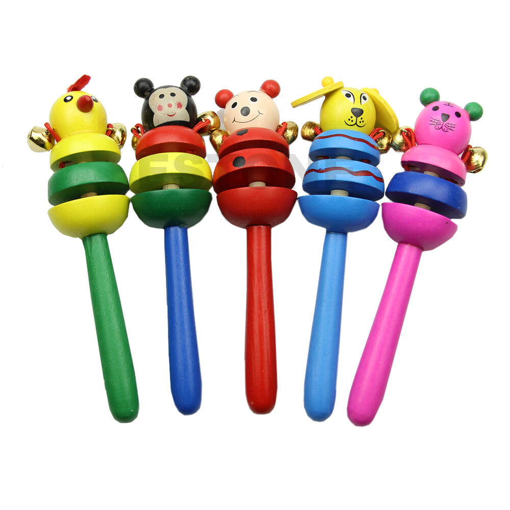 Bell Musical Toys : Kid bell toy cartoon animal wooden handbell musical