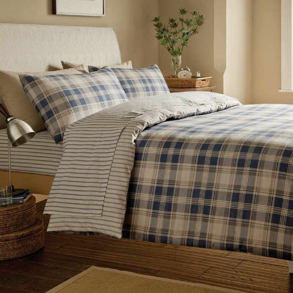 tartan navy blue pinstripe brushed cotton flannelette. Black Bedroom Furniture Sets. Home Design Ideas