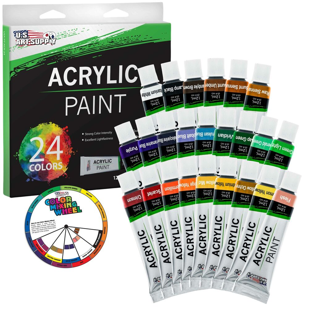 Us art supply 24 12ml tube artist acrylic paint set quick for Acrylic mural paint supplies