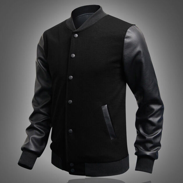 WINTER Mens Fleece Varsity Letterman Jacket Leather Baseball Coat ...