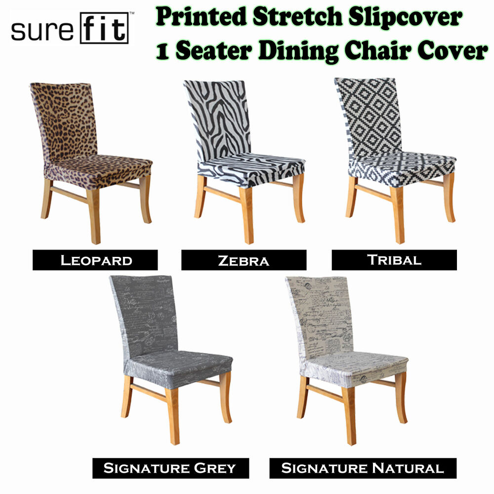 printed stretch dining chair cover choose your design by surefit ebay. Black Bedroom Furniture Sets. Home Design Ideas
