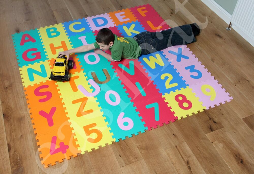 abc 123 alphabet numbers jigsaw puzzle soft foam play floor mats child kid large ebay. Black Bedroom Furniture Sets. Home Design Ideas