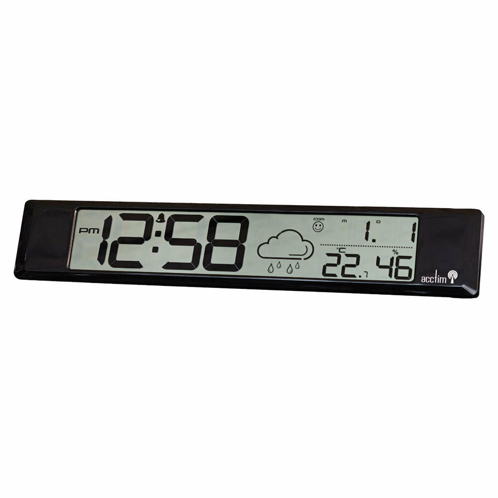 acctim delano radio controlled weather station alarm clock digital lcd humidity ebay. Black Bedroom Furniture Sets. Home Design Ideas