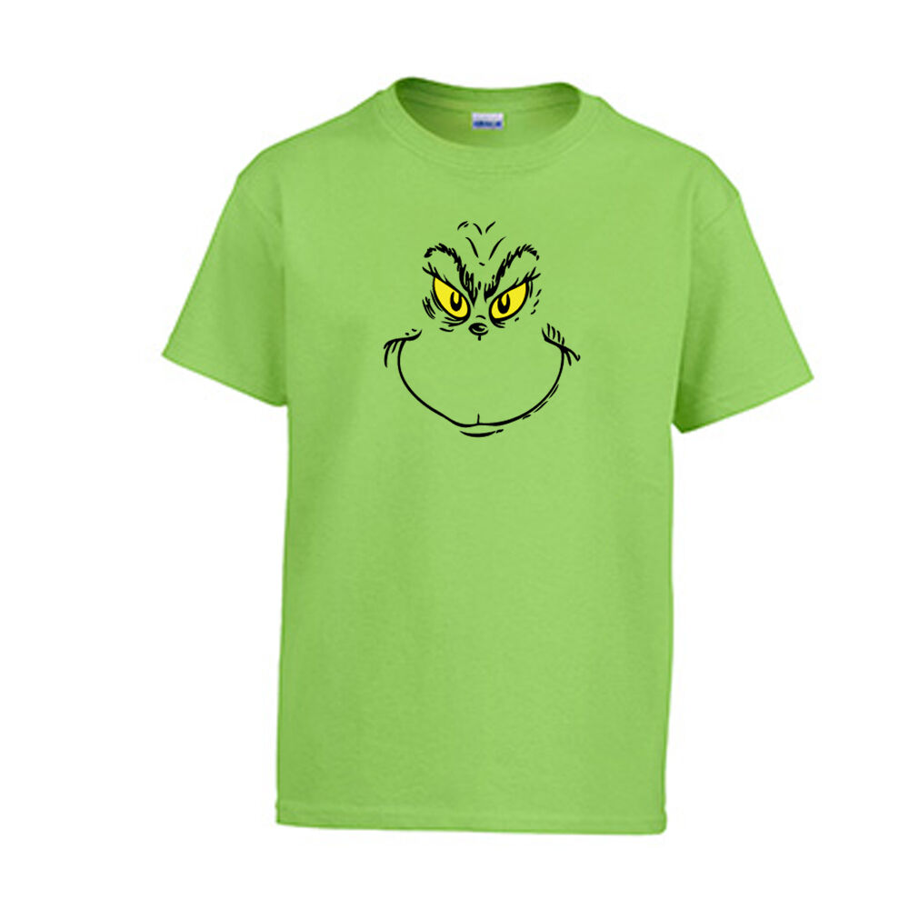 Youth Grinch Christmas T-Shirt Dr. Seuss Holiday Tee Kids ...