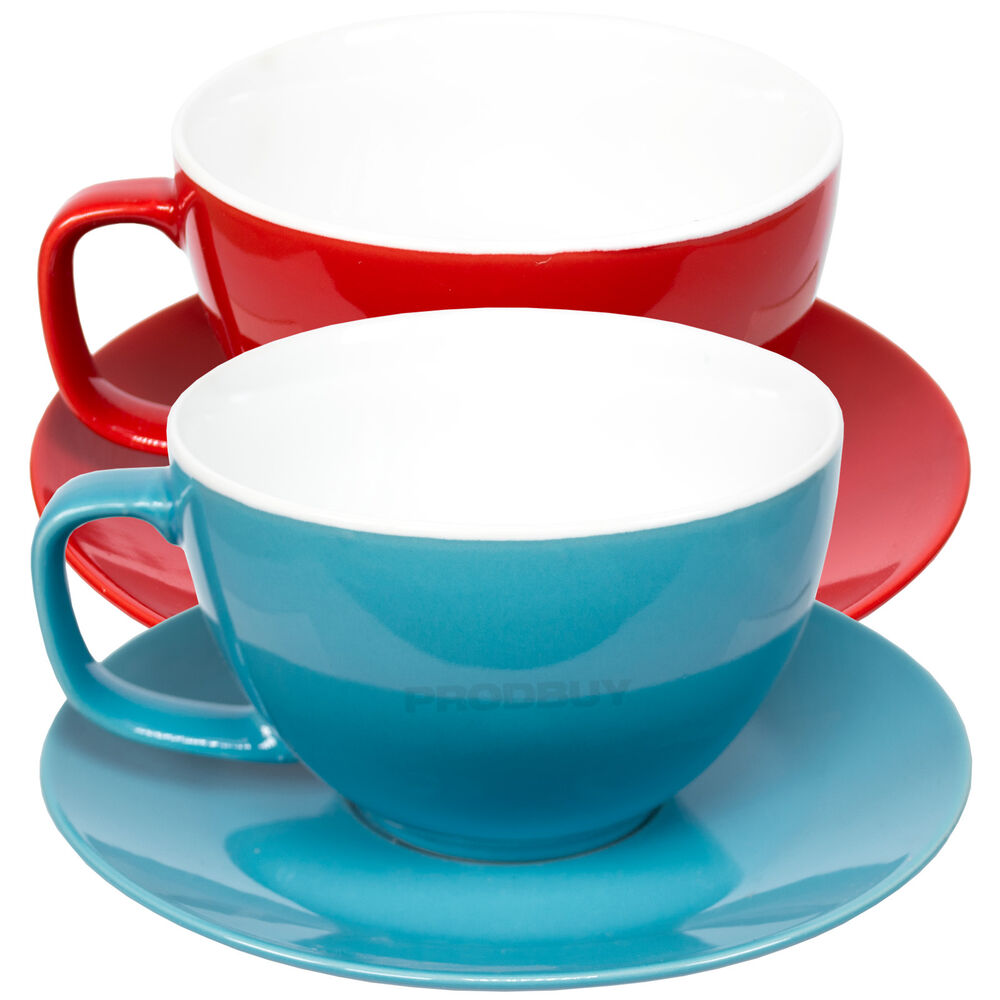 Set Of 2 Large 15oz Cappuccino Cups Amp Saucers Bright Tea