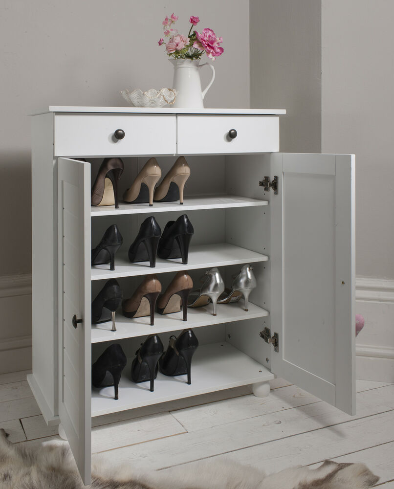 shoe storage cabinet cupboard with 2 storage drawers heathfield in