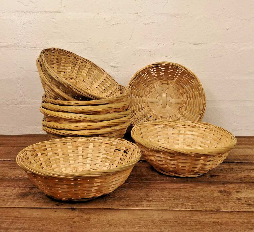 Set Of 10 Vintage Round Natural Bamboo Wicker Bread Basket