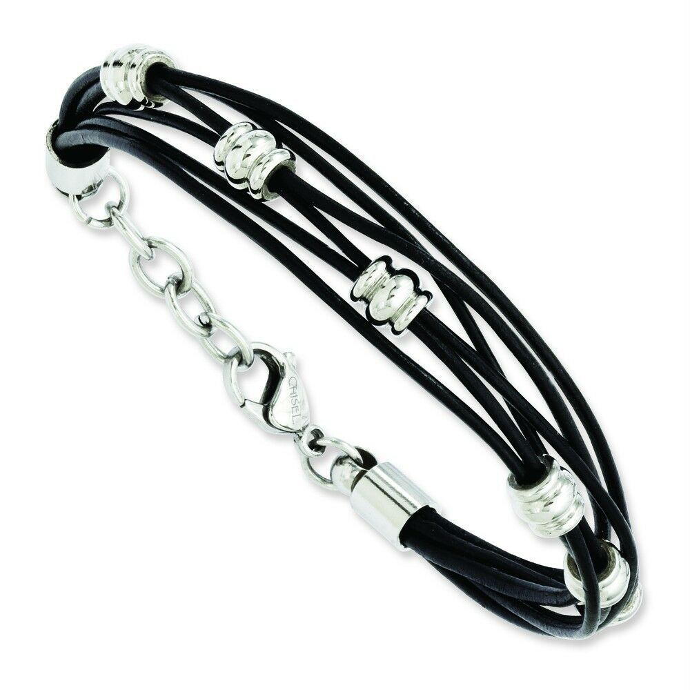 Mens Ladies Chisel® Stainless Steel Black Leather Beads 7