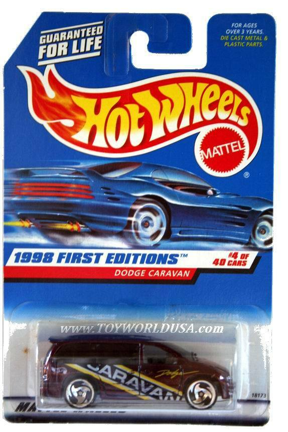 1998 Hot Wheels 633 First Edition 4 Dodge Caravan Razor Blue Car