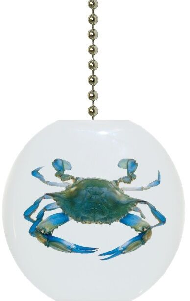 Blue Crab Nautical Solid CERAMIC Ceiling FAN Pull Light ...