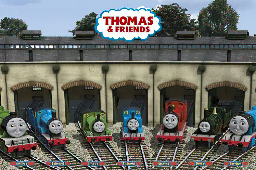 thomas the tank engine poster print friends in garage
