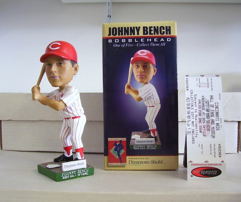 Johnny Bench Letter B Reds Hall Of Fame 2011 Bobble Bobblehead With Ticket Ebay