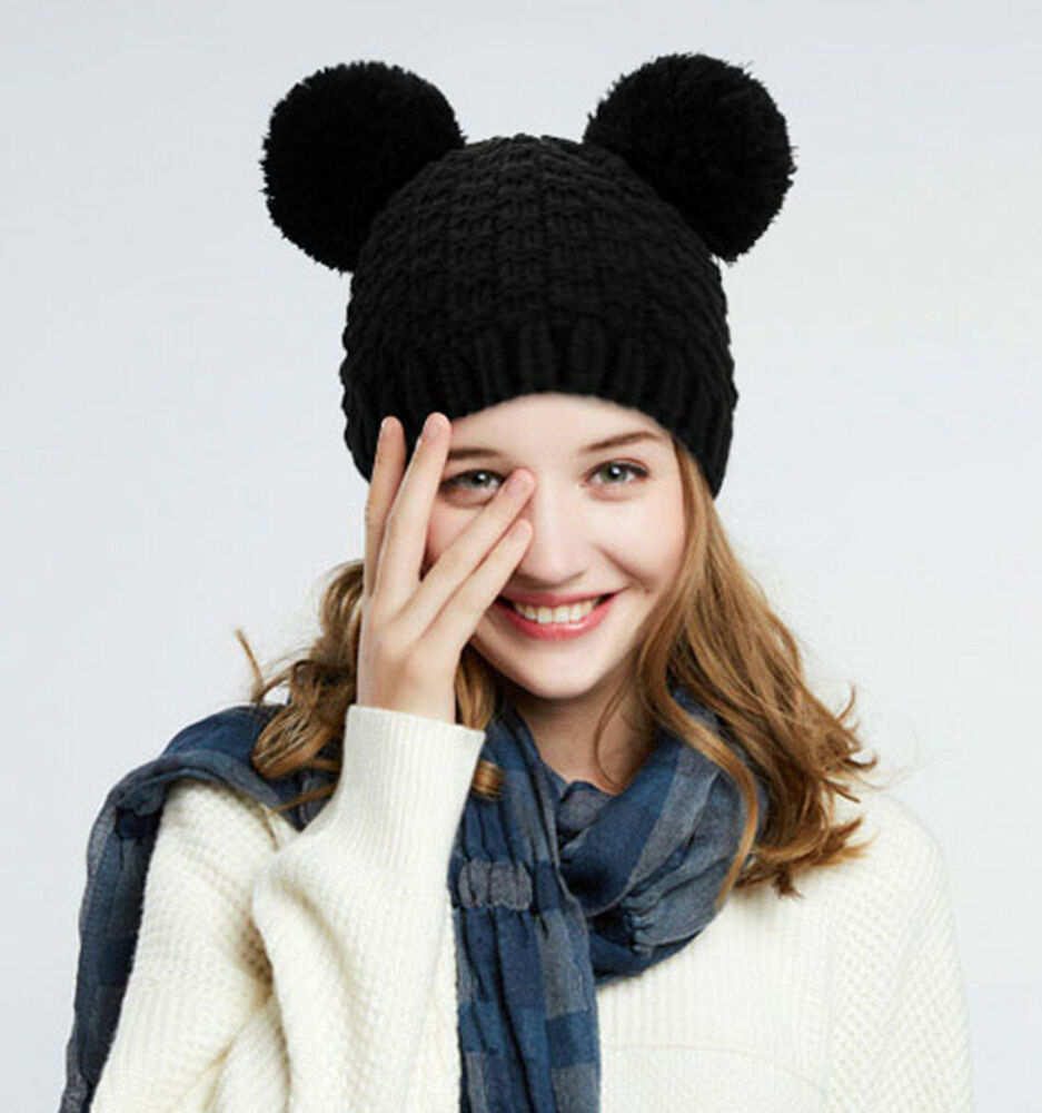 b6e1911dfcf Details about Black Double Pom Pom Ears Knitted Hats and Caps