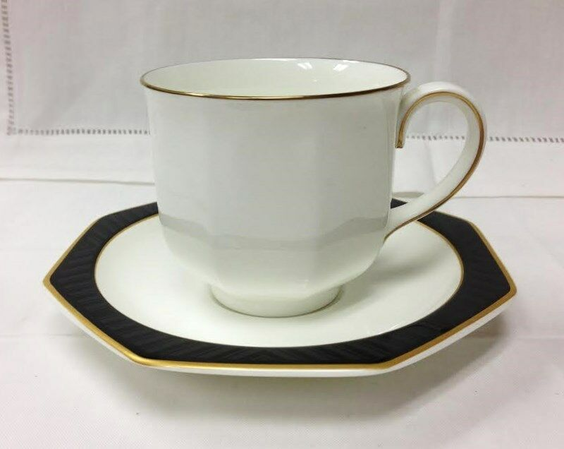 villeroy boch black pearl teacup saucer bone china heinrich new w germany ebay. Black Bedroom Furniture Sets. Home Design Ideas