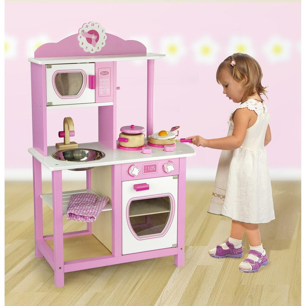 childrens kids pink wooden pretend play kitchen toy play set oven sink hob pans ebay. Black Bedroom Furniture Sets. Home Design Ideas