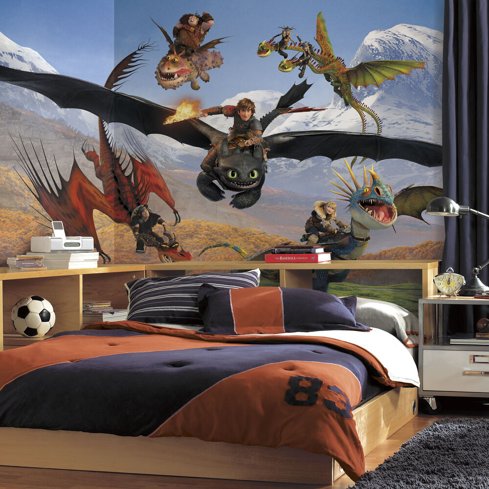 New xl how to train your dragon prepasted wallpaper mural for Boys room mural