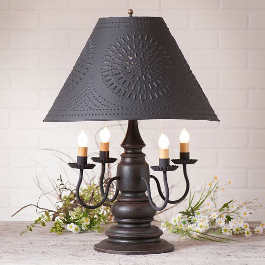 Country New HARRISON 4 Arm Wood Table Lamp W/black Punch
