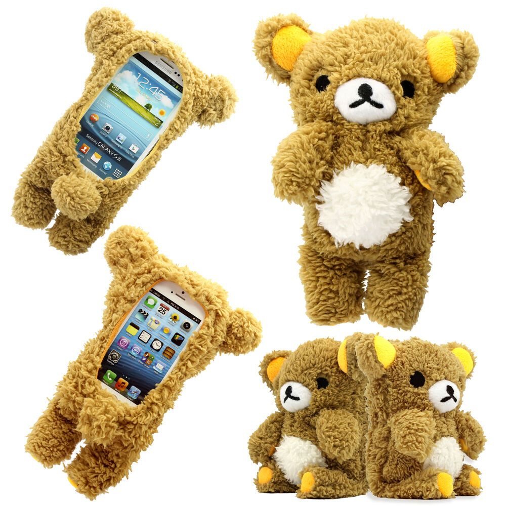 3d cute doll toy cool plush teddy bear cover case for for 3d decoration for phone cases