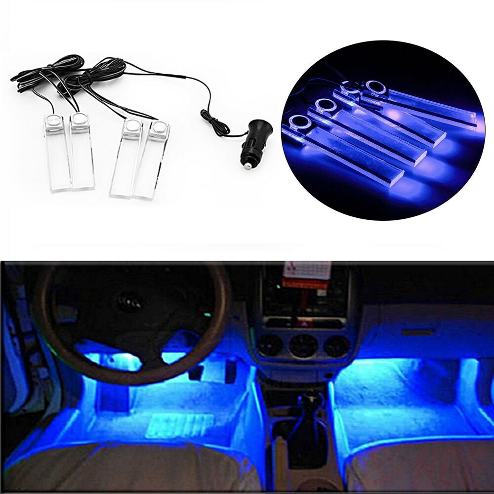 4x 12v blue led car light auto interior dash floor decoration floor accent lamp ebay for Interior accent lights for cars