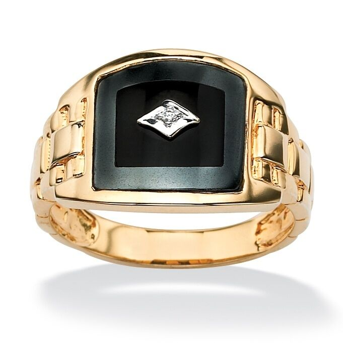 18k Gold Over Sterling Silver Onyx Diamond Accents Ring